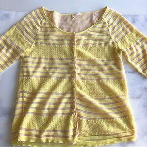 Anthropologie Moth Short Sleeve Cardigan in Yellow
